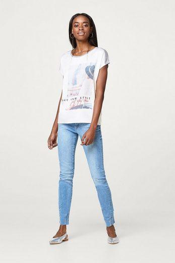ESPRIT Print-Shirt aus fließendem Material-Mix