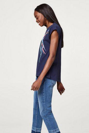 ESPRIT Shirt mit edler Stickerei, 100% Baumwolle