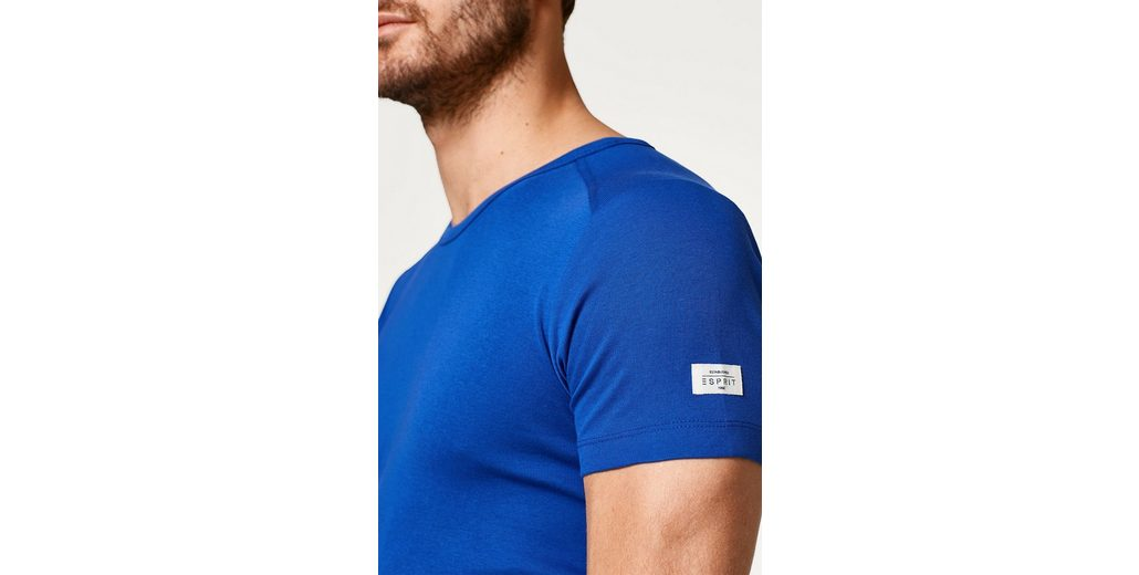 ESPRIT Basic-Shirt aus Full Needle-Ripp, aus Baumwolle