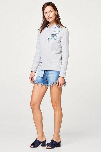ESPRIT Sweatshirt mit Pailletten-verzierten Blumen