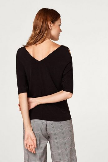 ESPRIT COLLECTION Cold-Shoulder-Shirt aus Slinky/Stretch