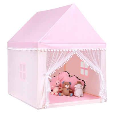 COSTWAY Spielhaus Kinderspielhaus, Kinderzelt Spielhaus Prinzess Prinzessin, Kinderspielzelt Stoffzelt mit Massivholzrahmen & Baumwolldecke, Kinderspielburg für Jungen Märchen 120x105x140cm