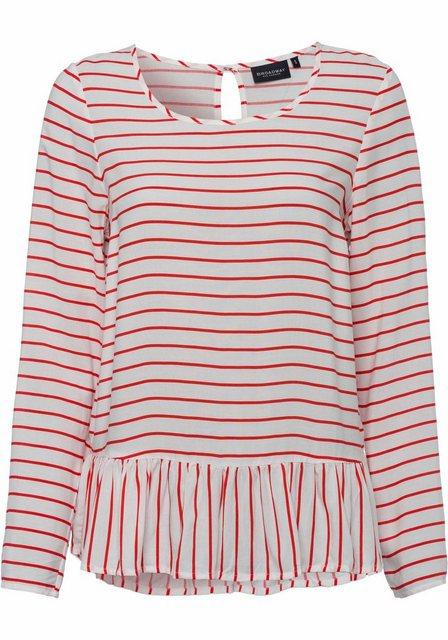 Damen BROADWAY NYC FASHION Shirtbluse Marlee mit Volant am Saum weiß | 04059203482935
