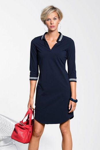 Bianca Jersey Dress Anina, Sporty Dress With V-neck Polo Collar,