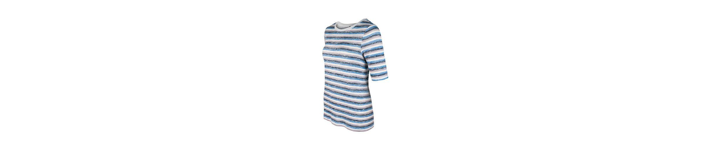 bianca T-Shirt DINIA, Feinstrickshirt mit mehrfarbigem melange Streifen