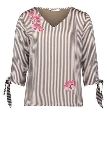 Public Bluse gestreift mit platziertem Blumenmotiv