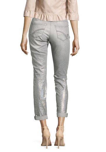 Cartoon Jeans mit Glanzeffekt und Reißverschluss