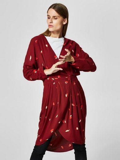 Selected Femme Print Kleid mit langen Ärmeln