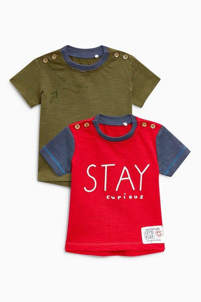 next t shirts mit schriftzug im doppelpack 2 teilig online. Black Bedroom Furniture Sets. Home Design Ideas