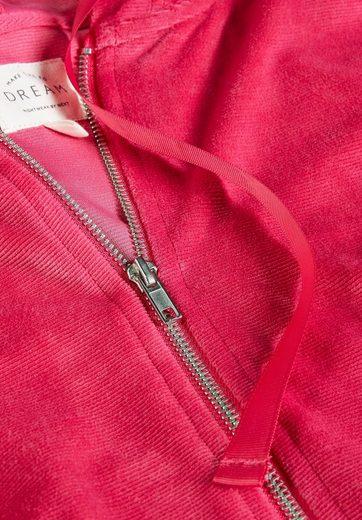 Next Gerippte Velours-Kapuzenjacke mit Reißverschluss
