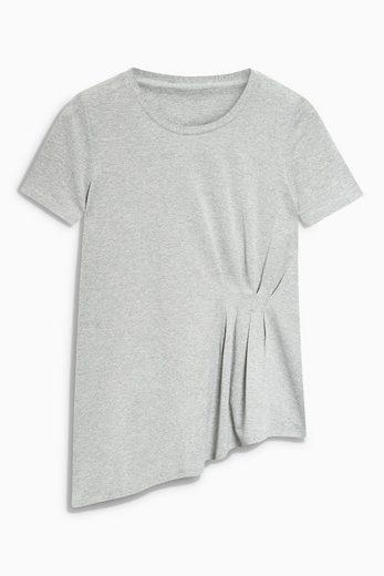 Next Asymmetrisch geschnittenes T-Shirt in Metallic