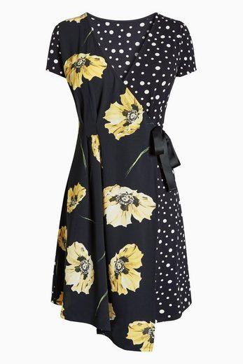 Next Wickelkleid mit Blumenmotiv und Tupfen