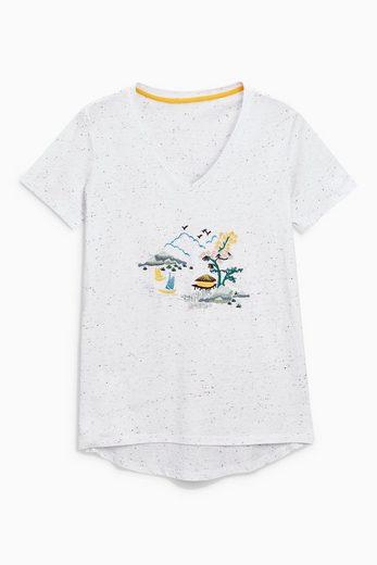 Next T-Shirt mit Stickereien