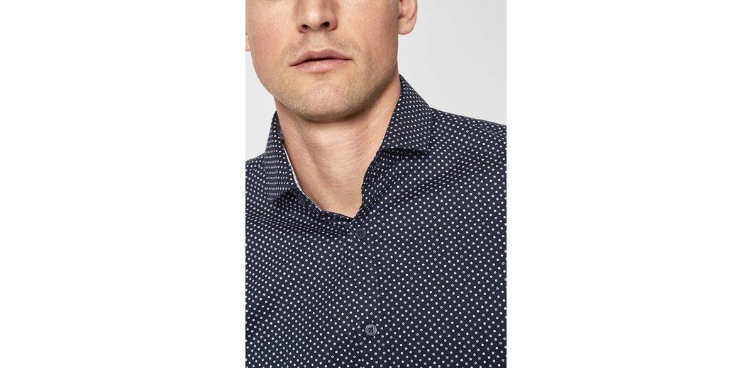 s.Oliver BLACK LABEL Slim Fit: Hemd mit Minimalmuster Spielraum Mit Mastercard MFhrAjmU