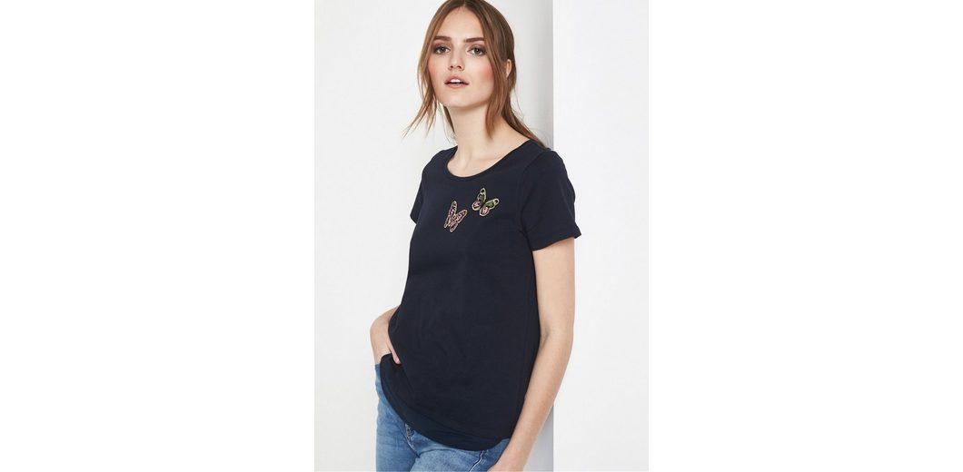 COMMA Kurzarm-Jerseyshirt mit Schmetterling-Patches