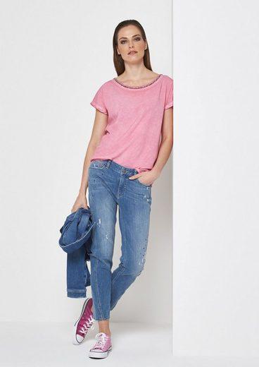 COMMA Jersey-Kurzarmshirt mit glitzerndem Zierstäbchenbesatz