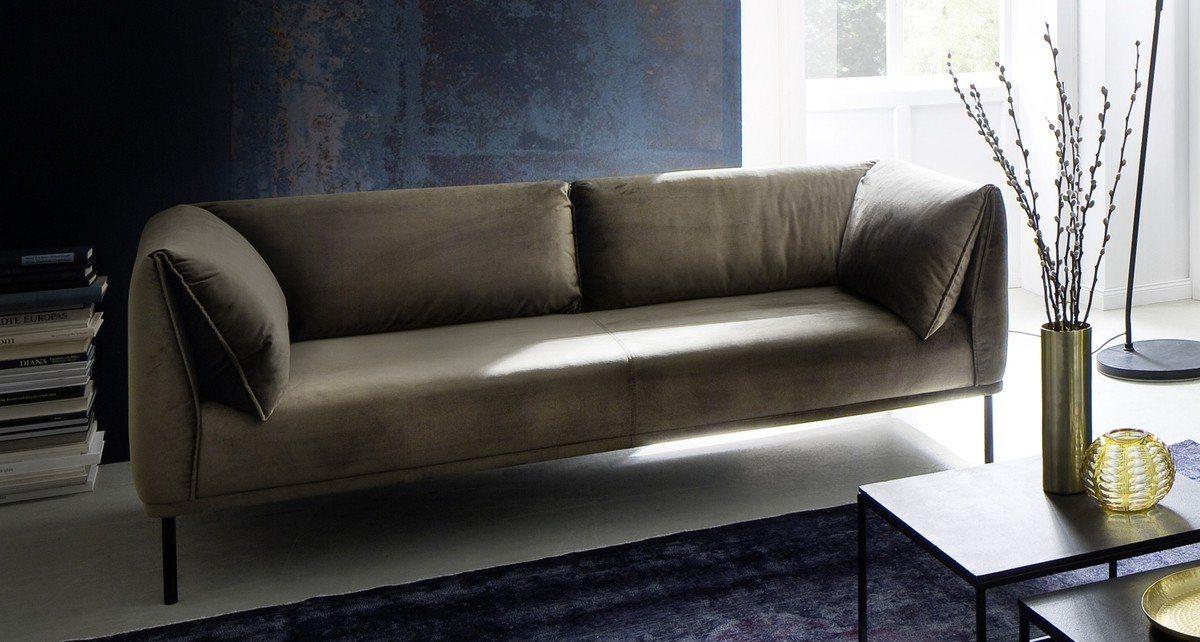 Kasper-Wohndesign Sofa 3-Sitzer Stoff oliv-grün »CARRY« - Kasper-Wohndesign