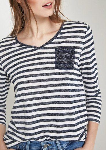 COMMA Leichtes 3/4-Arm Shirt mit Streifenmuster