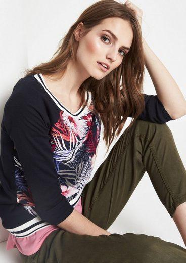 COMMA 3/4-Arm Shirt mit farbenprächtigem Floralprint