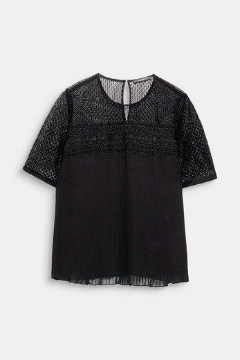 ESPRIT COLLECTION Chiffon-Bluse mit Spitze und Layer