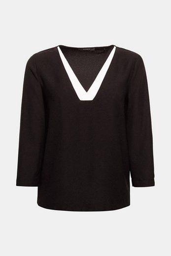 ESPRIT COLLECTION Crêpe-Bluse mit V-Ausschnitt