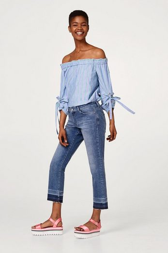 EDC BY ESPRIT Cropped Stretch-Jeans mit offenem Saum