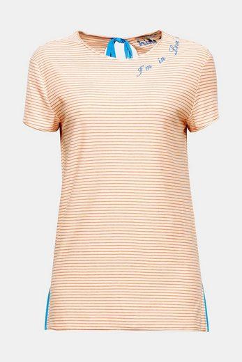 EDC BY ESPRIT Baumwoll-Shirt mit Slogan-Stickerei