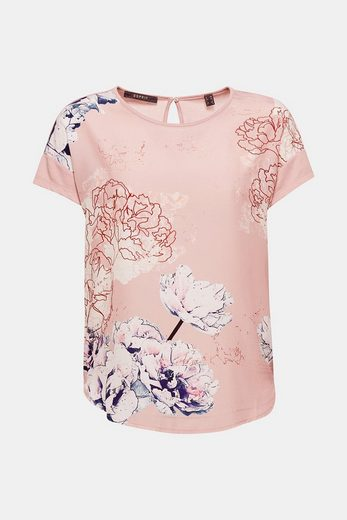ESPRIT COLLECTION Fließendes T-Shirt mit Blumen-Print
