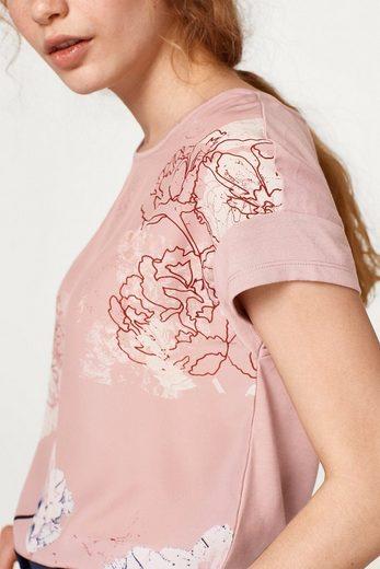 ESPRIT COLLECTION Fließendes T-Shirt mit Blumen-Print