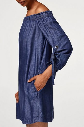 EDC BY ESPRIT Off-Shoulder-Kleid aus Lyocell in Denim-Optik