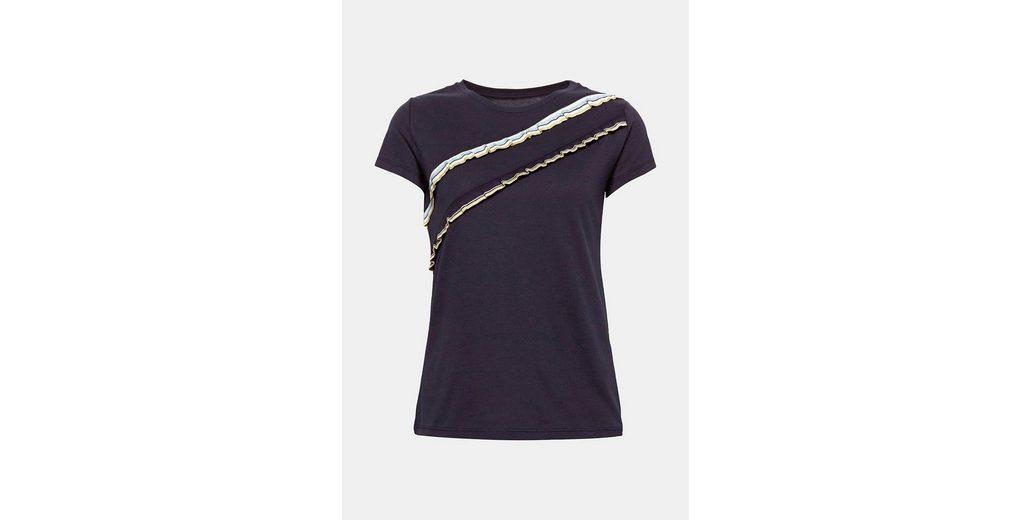 EDC BY ESPRIT Softes T-Shirt mit gestreiften Rüschen Footaction Online Verkauf Günstig Kaufen Gut Verkaufen Günstig Kaufen 2018 IKRmt