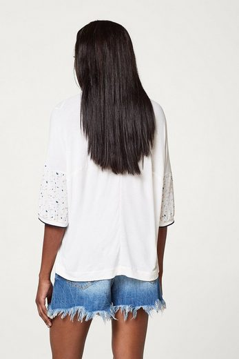 ESPRIT Blusen-Shirt im fließenden Material-Mix