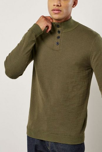 Next Textured Sweater With Zip-collar And Button