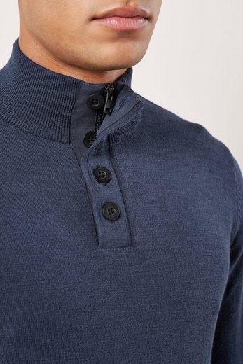 Next Strukturierter Pullover mit RV-Kragen und Knopf