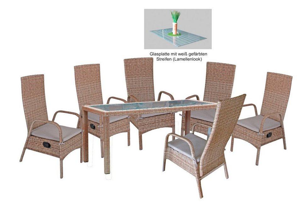 GARDEN PLEASURE Gartenmöbelset »FARO«, 11-tlg., 6 Stühle, Tisch ...
