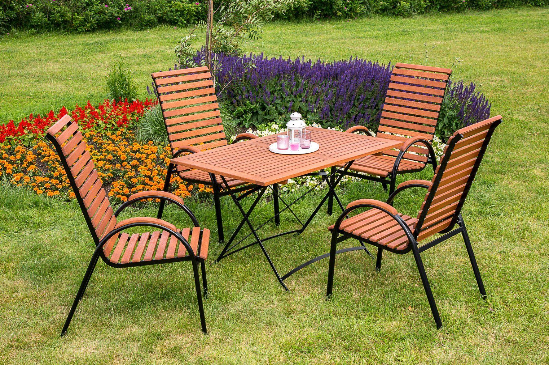 MERXX Gartenmöbelset »Schloßgarten«, 5tlg., 4 Sessel, Tisch, stapelbar, klappbar, Eukalyptus