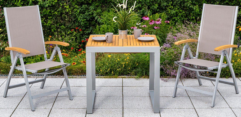MERXX Gartentisch »Naxos«, Eukalyptus/Alu, ausziehbar, 120 x70 cm, natur