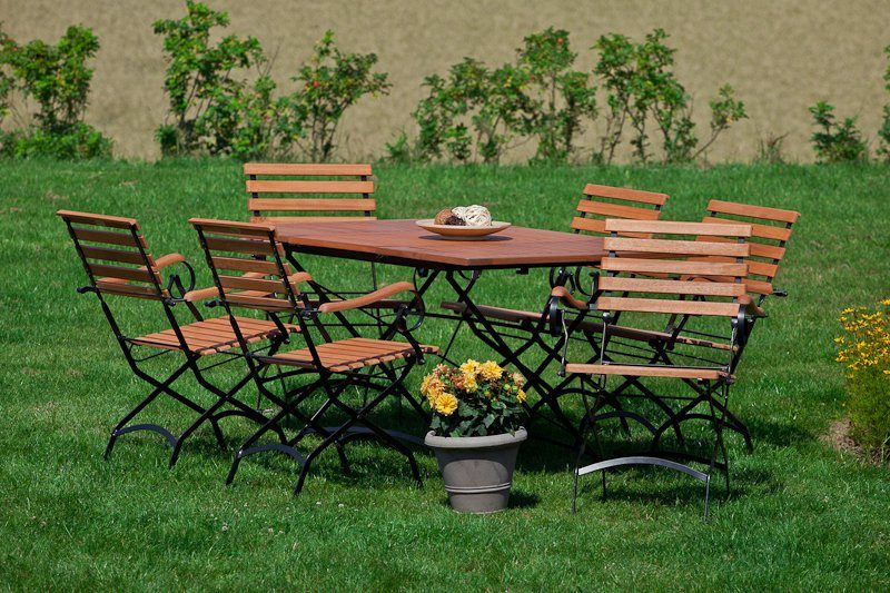 MERXX Gartenmöbelset »Schloßgarten«, 7tlg., 6 Sessel, Tisch, klappbar, ausziehbar, Eukalyptus