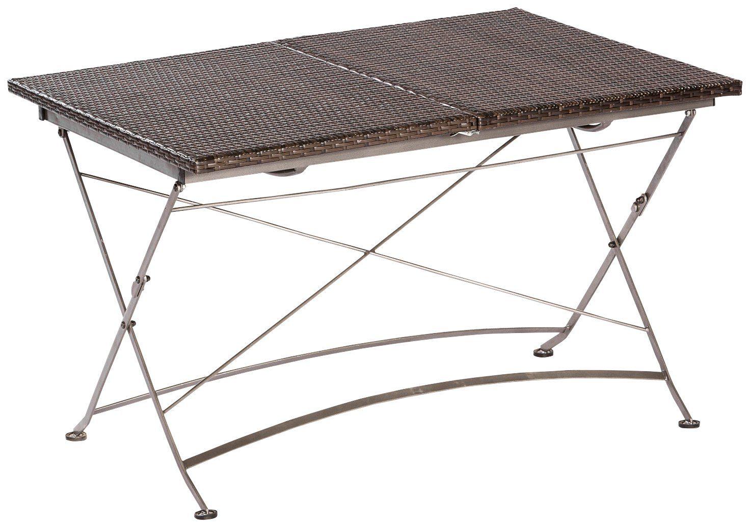 MERXX Gartentisch »Sanssouci«, Polyrattan, klappbar, ausziehbar, 180x90 cm, braun