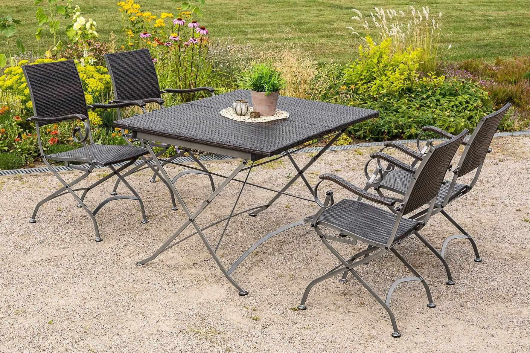 MERXX Gartenmöbelset »Sanssouci«, 5tlg., 4 Sessel, Tisch, klappbar, ausziehbar, Polyrattan