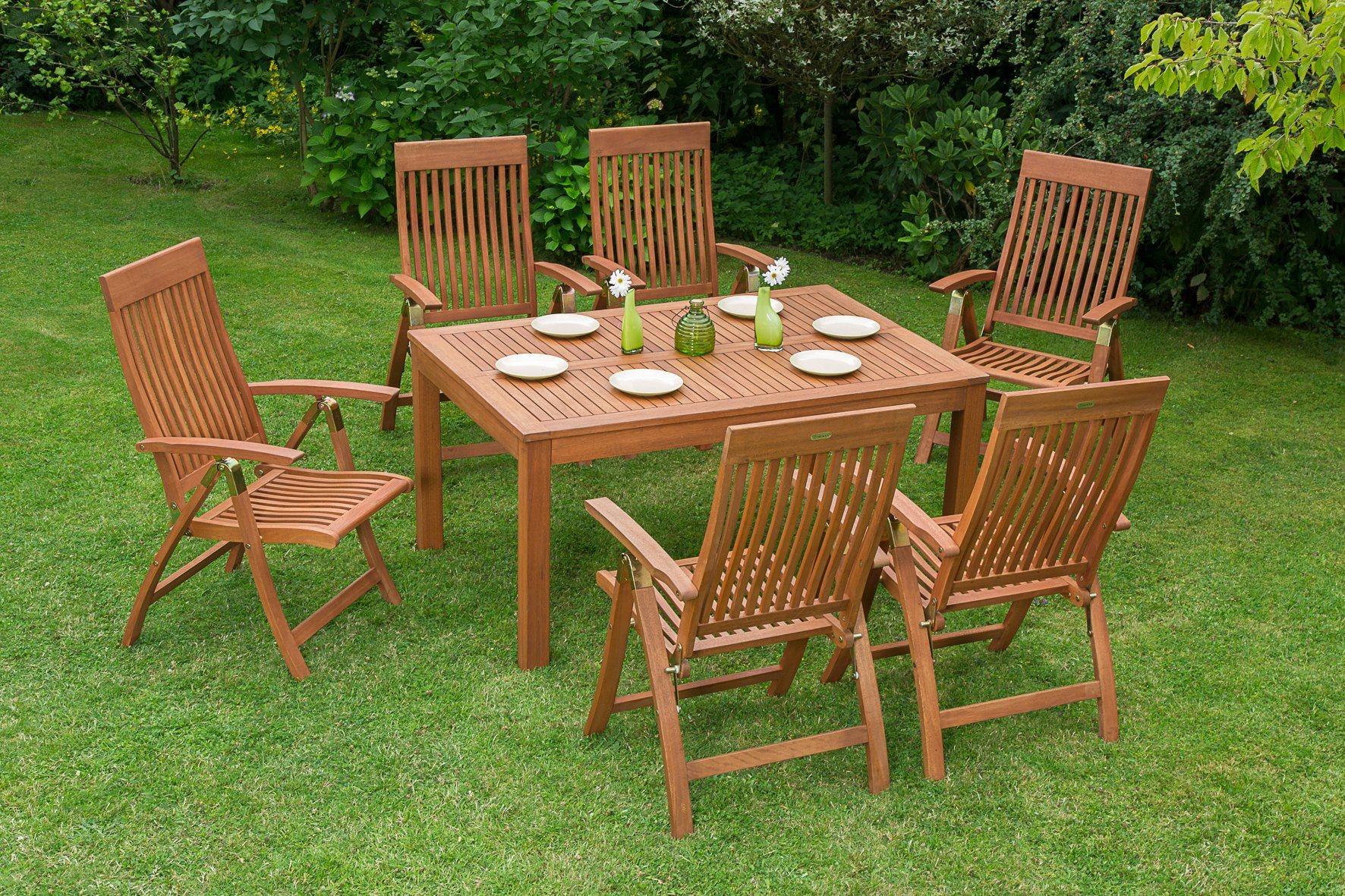 Gartenmöbelset »Commodoro«, 7tlg., 6 Sessel, Tisch, Klappbar, Ausziehbar