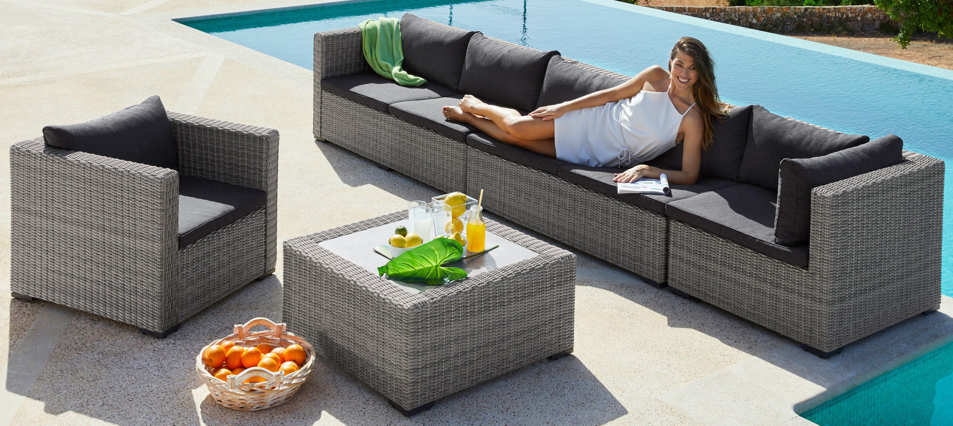 Loungeset »Miami«, 18-tlg. 2x2-Sitzer, Eckteil, Sessel, Tisch, Polyrattan, grau