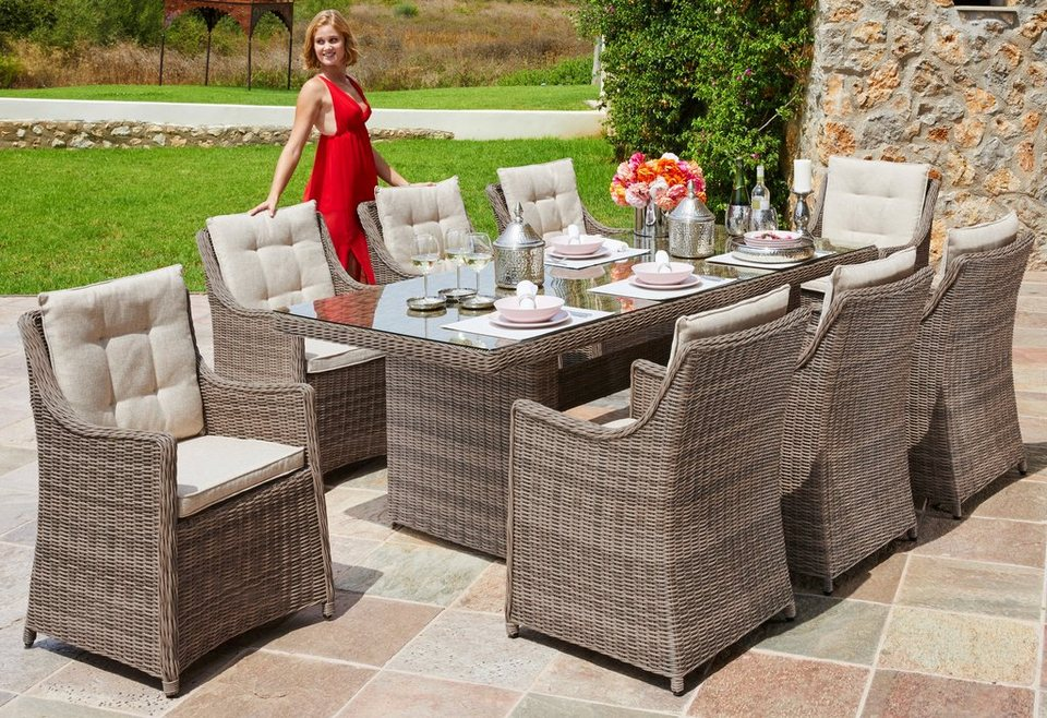 gartengut gartenm belset rio 25 tlg 8 sessel tisch 230x100 cm polyrattan natur online. Black Bedroom Furniture Sets. Home Design Ideas