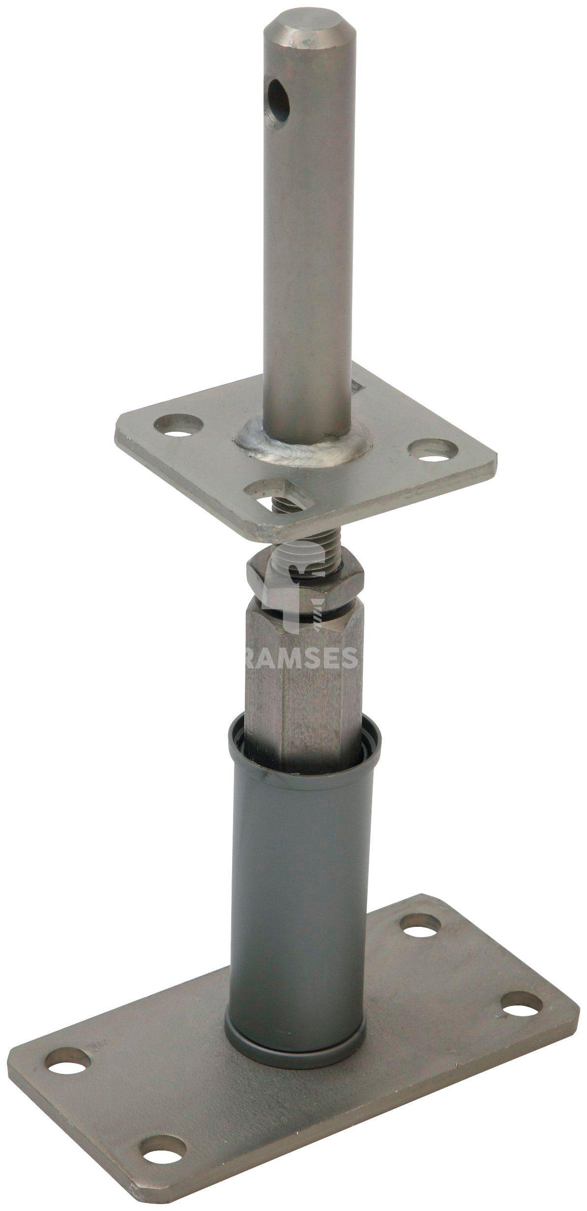 RAMSES Pfostenträger , Edelstahloptik höhenverstellbar mit Dolle 24x120x135-200 mm