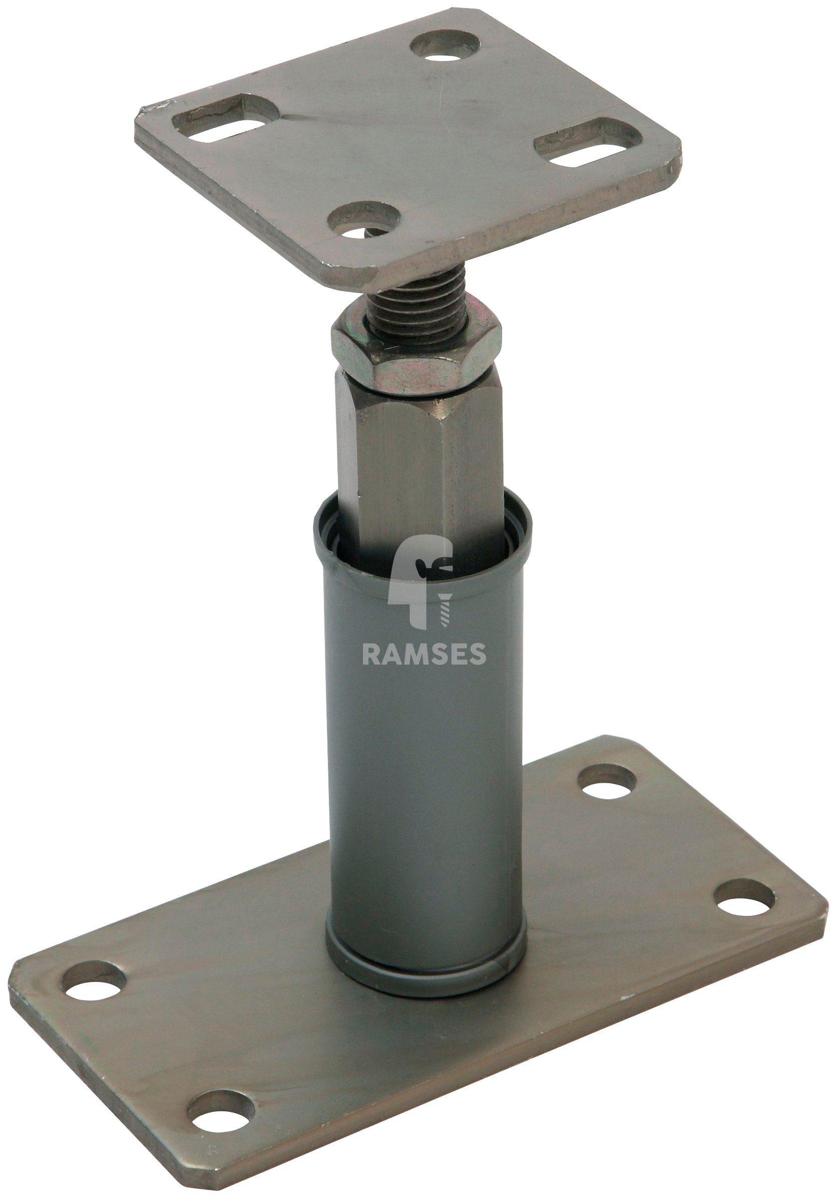 RAMSES Pfostenträger , Edelstahloptik höhenverstellbar 80x80x135-200 mm