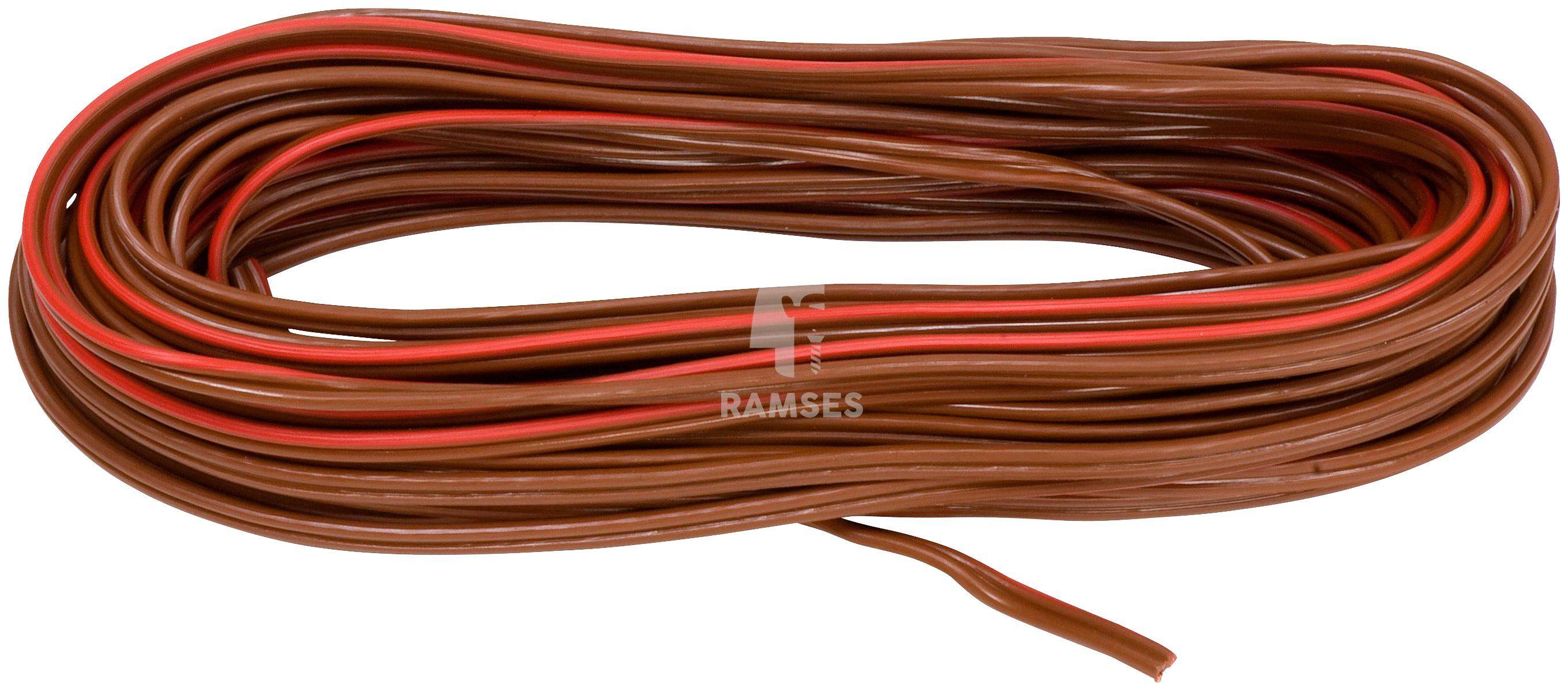 RAMSES Fahrzeugleitung , Lautsprecherleitung Rot/Braun 2 x 1,5 mm² 50 Meter