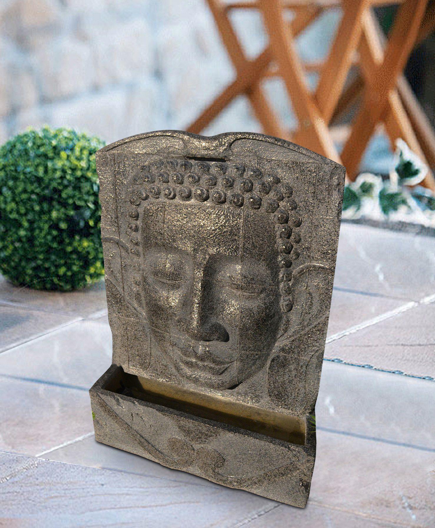 HEISSNER Set: Gartenbrunnen »BUDDHA LED«, BxTxH: 49x19x78 cm, grau