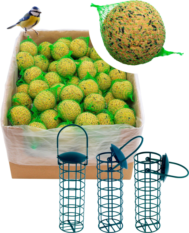 DOBAR Set: Vogelfutter »Meisenknödel«, 200 Stk. mit Netz inkl. 3 Futterspender