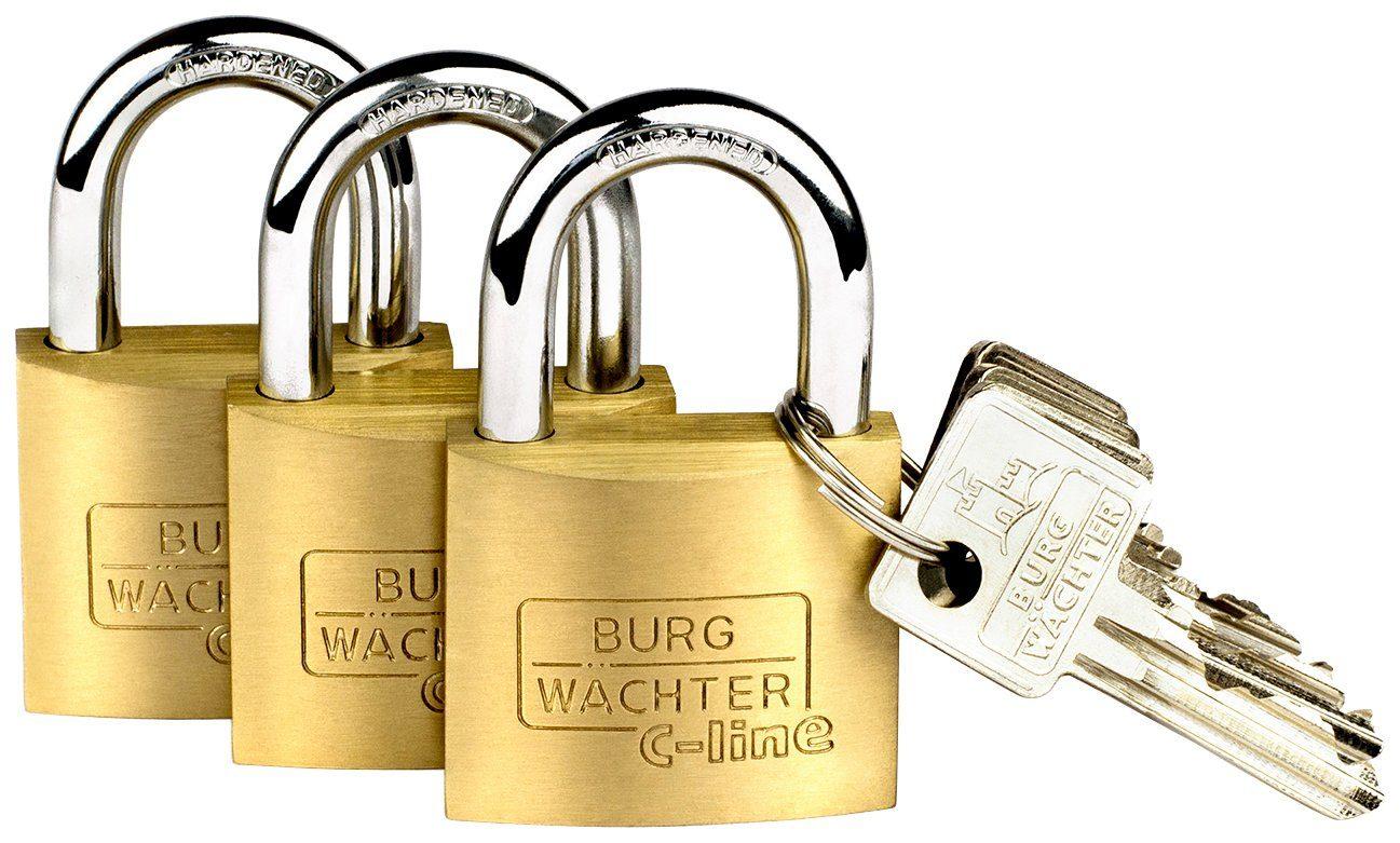 BURG WÄCHTER Vorhangschloss »Trio 222 40 SB«, Vorhangschloss-Set