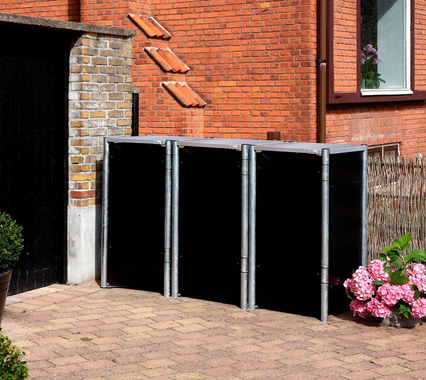 Mülltonnenbox , für 3 x 120 l, schwarz